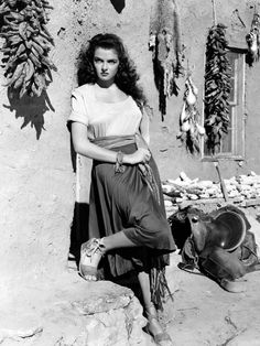 """Jane Russell: """"The Outlaw"""" - produced by Howard Hughes, 1943."""
