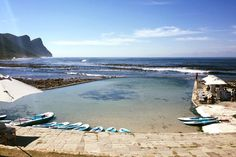 These serene tidal pools offer safety, seclusion and scenic surrounds. Best of all, they don't need top-ups from the city's water supply. Natural Swimming Pools, Natural Pools, Water Supply, Cape Town, Serenity, South Africa, City, Outdoor Decor, Nature