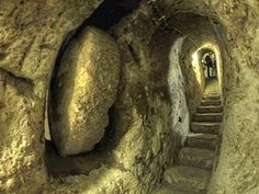 Derinkuyu Underground City -   Turkey, multi levels enough to shelter 20,000 people with livestock and food stores.