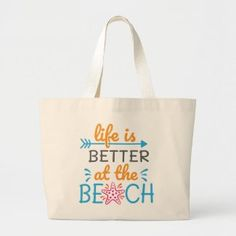 A Beautiful Jumbo Beach Bag Done In Colorful Script. #ad Summer Accessories, Design Your Own, Script, Life Is Good, Reusable Tote Bags, Good Things, Colorful, Beach, Gifts
