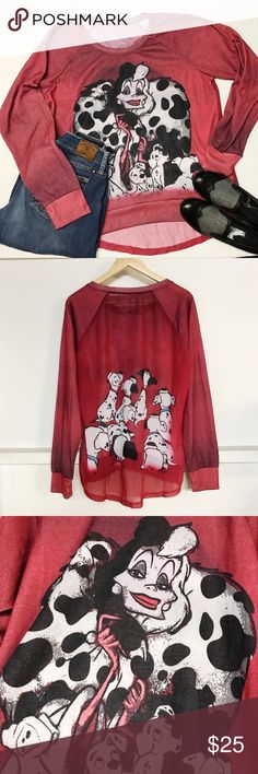 Large Disney Cruella de Ville pullover top Large Disney Cruella de Villa  pullover top excellent condition Material polyester and cotton / back sheer. length 27 inch pit to pit 22 inch Disney Tops Tees - Long Sleeve