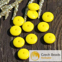 ✔ What's Hot Today: Opaque Yellow Czech Glass Disc Beads Washer Solo Flat Disk…