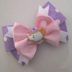 Potts The Tea Pot - Beauty & the Beast Hairbow Ribbon Crafts, Ribbon Bows, Ribbon Hair, Girl Hair Bows, Girls Bows, Disney Hair Bows, Hair Bow Tutorial, Flower Tutorial, Rainbow Loom Charms
