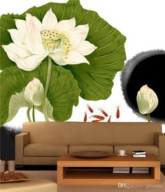 Large View Chinese style Lotus Wall Mural Art Mural Decal Elegant Scenery Wallpaper Hotel Background Living Bedroom Kids Rooms Free shipping