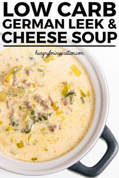 Low Carb German Leek And Cheese Soup With Ground Beef - Ready in 30 minutes! Low Carb and keto soup with net carbs per serving! Low Carb German Leek And Cheese Soup With Ground Beef - Ready in 30 minutes! Low Carb and keto soup with net carbs per serving! Leek Recipes, Gourmet Recipes, Low Carb Recipes, Healthy Recipes, Dinner Recipes, Healthy Meals, Vodka, Soup With Ground Beef, Soup Appetizers
