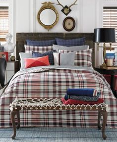 Tommy Hilfiger Vintage Plaid Comforter and Duvet Cover Sets - Bedding Collections - Bed & Bath - Macy's Plaid Comforter, Twin Comforter Sets, Bedding Sets, Tommy Hilfiger Vintage, Tommy Hilfiger Damen, Plaid Bedroom, Men Bedroom, Master Bedroom, Caravan