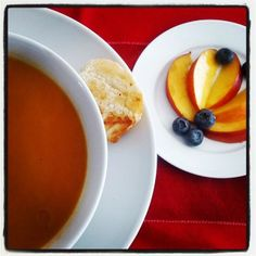 Day 25: Taste of Summer/Winter - I love Butternut Bisque in the Winter and peaches and berries always remind me of Summer!