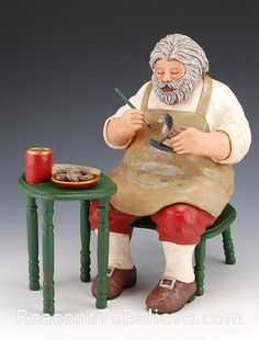 Santa at the Work Table.  An original solid wood Santa Claus carving from Deborah Call - hand carved, hand painted, signed and dated.