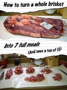 How to BUTCHER a WHOLE BEEF BRISKET. There is good video linked to this site. Save a ton of cash on beef by buying a whole beef brisket and butchering it yourself. 7 full-meals for the price of one! Cooking For A Crowd, Cooking On A Budget, Freezer Cooking, Freezer Meals, Meat Less Meals, Food Budget, Budget Recipes, Frugal Meals, Cheap Meals