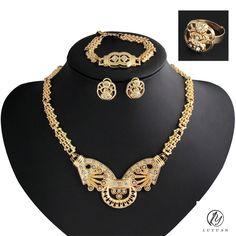 Popular African Women Jewelry Set Luxury Gold Color Bridal Wedding Set Jewelry Vintage Crystal Jewelry Set Fashion Ethiopian Set