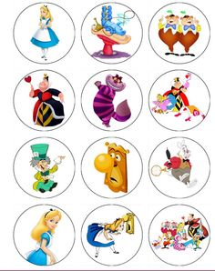 ALICE IN WONDERLAND Edible Cupcake Toppers by ChrisCakeArt on Etsy, $5.99