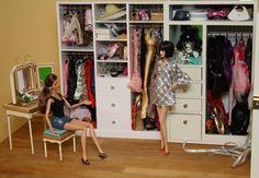 Barbie's custom closet-- floor based.  Loved it!