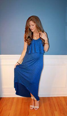 Maternity Fashion, blue maxi dress