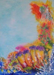 """""""Reef Corals."""" Great Barrier Reef acrylic art by Lyn Olsen http://www.lynolsen.com/"""