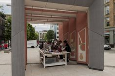 Clerkenwell Design Week, London ¨Smith¨ pavillion by Studio Weave, clad with a new facade material, EQUITONE [linea]. Interior with waterjet cut EQUITONE panels. Architecture Events, Studio Weave, Facades, Cement, London, Interior, Outdoor Decor, Inspiration, Design