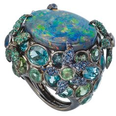 Ring with black gold, beryls, sapphires, diamonds and Australian black opal by Lydia Courteille