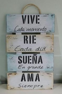Positive Phrases, Motivational Phrases, Inspirational Quotes, Quotes En Espanol, Rustic Farmhouse Decor, Spanish Quotes, Ideas Para, Wood Signs, Decoupage