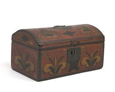 """AMERICAN PAINTED AND DECORATED DOME TOP BOX, THE TOP WITH INITIALS """"A.D."""""""