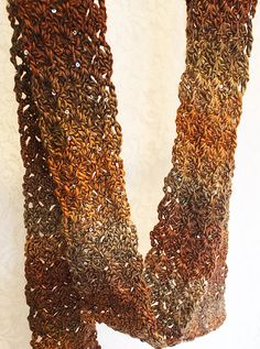crocheted sequined shades of brown scarf by jusshar on Etsy, $20.00