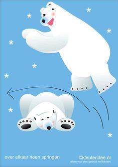 Movement cards polar bear for preschoolers jumping over each other, kleuteridee.nl, theme Noorpool, Movementcards for preschool, free printable . Winter Art, Winter Theme, Eskimo, Exercise Activities, Body Map, Kindergarten Themes, Winter Crafts For Kids, Winter Olympics, Polar Bear