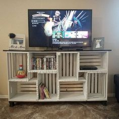 Farmhouse crate tv stand local pickup only tvstandideasforlivingroom diy wood crate tractor toy box instructions diy wood crate furniture ideas projects Crate Tv Stand, Diy Tv Stand, Pallet Tv Stands, Tv Stand Made Out Of Pallets, Wood Crates, Wood Pallets, Pallet Wood, Wood Crate Shelves, Crate Bookshelf