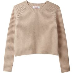 Rib Pullover (1.060 BRL) ❤ liked on Polyvore featuring tops, sweaters, shirts, jumpers, crew-neck sweaters, crop top, cropped sweater, long-sleeve crop tops and beige sweater