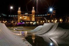Museumplein, Amsterdam, The Netherlands, December 2013 - January 2014, Rijksmuseum reflection in halfpipe