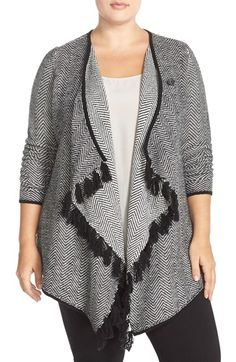 Sejour Fringe Herringbone Asymmetrical Wrap Cardigan (Plus Size) available at #Nordstrom