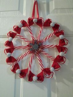 """""""Dad"""" Candy Cane Wreath I Made Christmas 2013 Also Posted On Shasta's Crafty Cabin (On Facebook)"""