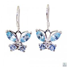 Riyo Mind-Blowing Blue Topaz 925 Solid Sterling Silver Blue Earring Sebto-10008