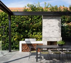 Backyard Pavilion, Backyard Pool Landscaping, Backyard Pool Designs, Patio Design, Outdoor Fireplace Brick, Backyard Fireplace, Open Fireplace, Outdoor Living Rooms, Outdoor Dining