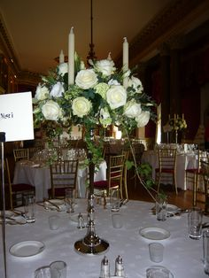 silver candelabra with a ring of roses - The Ballroom, Goodwood House