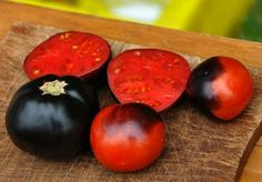Indigo Rose Tomatoes - a relatively new breed with the same pigments and antioxidants as blueberries.  Too bad I don't have an outdoor space for a garden.
