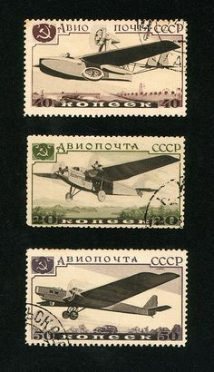 Many Russian stamps from the 1930s to 50s were printed by collotype, an unusual process which produces an almost microscopic random grain rather than a conventional halftone screen, making it virtually continuous tone. It was more usually applied to fine art reproduction and is now almost extinct. These were issued in 1937.