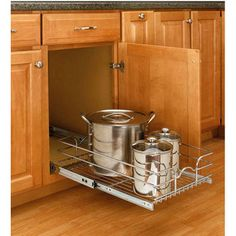 Storage Baskets - Kitchen Cabinet Chrome Pull-Out Wire Baskets w/ Full-Extension Slides by Rev-A-Shelf | Kitchen Accessories Unlimited