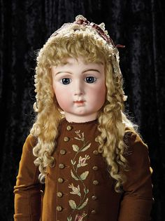 Soirée: Antique Dolls and Automata: 60 French Bisque Bebe Triste by Emile Jumeau in Very Rare Size 16