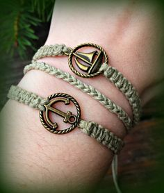 Bronze Nautical Bracelet - Sailboat and Anchor Bracelet - Sailing Hemp Bracelet