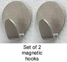 Brushed Nickel 2 Magnetic Clip Hooks Hanger Bathroom Office Home Decor