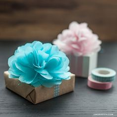 DIY Tissue Poms And Flower Gift Toppers