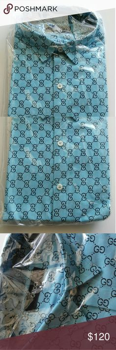 Gucci men's collar dress shirt still package Men's Gucci cotton dress shirt.   I have two different color blue available. Shown in the last picture for reference. The other one is a teal like blue and  sold separately under it's own listing.   Size Large  Color : Blue  Made in Italy, cotton Refer to picture for more detail, pictures were taken from my cell phone against natural light. Gucci Shirts Dress Shirts