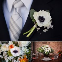 White Poppy boutonniere - YES.  Perhaps with a touch of green and some baby's breath?