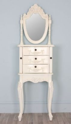 Antique White French Painted Louis Style Vanity Unit /Jewellery Chest Cabinet with Mirror - Sophie