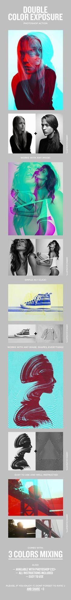 Double Color Exposure Photoshop Action #photoeffect Download: http://graphicriver.net/item/double-color-exposure/11709694?ref=ksioks