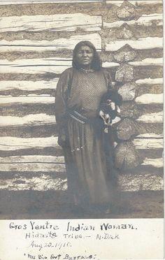 1910 Gros Ventre Indian Woman Hidatsa Tribe North Dakota Mrs Big Foot Buffalo