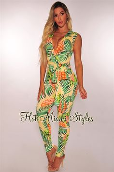 ac13b14248e Yellow Pineapple Palm Print Belted Jumpsuit