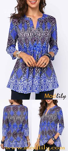 Split Neck Button Front Pleated Detail Blouse On Sale At Modlily. Restock it now. Curvy Outfits, Classy Outfits, Plus Size Outfits, Fashion Outfits, Womens Fashion, Curvy Clothes, Classy Clothes, Fashion Styles, Stylish Tops