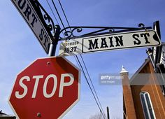News Photo : Street signs on Main Street in the historic town. Custom Street Signs, Main Street, Maine, Selfie, News, Photography, Photograph, Fotografie, Photoshoot