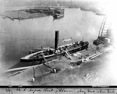 USS Alarm  Torpedo Boat  halftone reproduction of a photograph taken while she was alongside at the New York Navy Yard, Brooklyn, New York, circa 1876