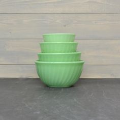 Fire King Jadeite   Swirl Mixing Bowls Set  Jadite by KOLORIZE, $148.00