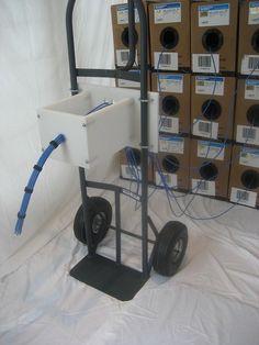 'Bundlizer' cable dressing/bundling tool mounts to hand cart, cable reel, work…